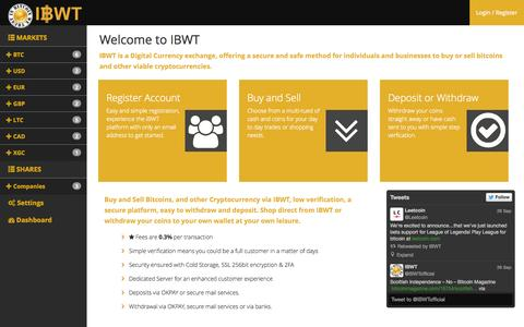Screenshot of Home Page ibwt.co.uk - IBWT | Digital Currency Exchange - Buy & Sell Bitcoin (UK & International) - captured Sept. 30, 2014