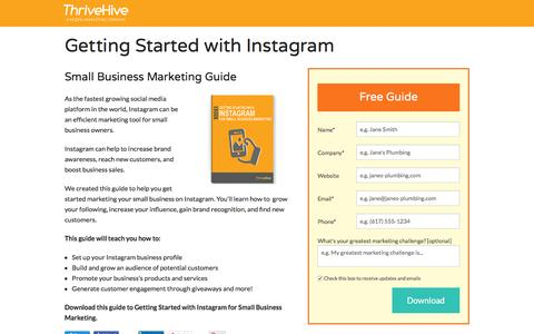 Screenshot of Landing Page thrivehive.com - Getting Started with Instagram for Small Business Marketing | ThriveHive - captured Aug. 19, 2016