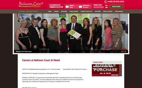 Screenshot of Jobs Page motel.co.uk - Careers | Belmore Court Hotel Enniskillen - captured Oct. 5, 2014