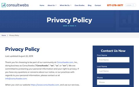 Screenshot of Privacy Page consultwebs.com - Privacy Policy | Consultwebs.com - captured Oct. 4, 2019