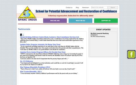 Screenshot of Testimonials Page sparcindia.org.in - SPARC India, Lucknow > Testimonials - captured Sept. 30, 2014