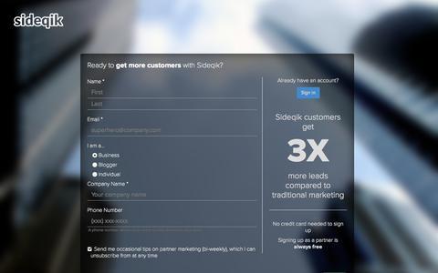 Screenshot of Signup Page sideqik.com - Sideqik - Signup - captured Sept. 19, 2014