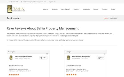 Screenshot of Testimonials Page miami-propertymanagement.com - Miami Property Management Companies Reviews - captured June 18, 2016