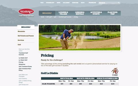 Screenshot of Pricing Page tremblant.ca - Golf Pricing – Mont Tremblant Resort - captured Sept. 23, 2014