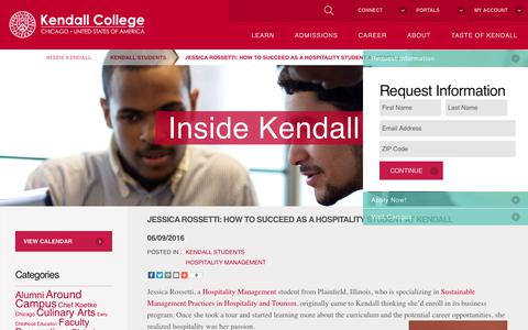 Screenshot of Blog kendall.edu - Jessica Rossetti: How to Succeed as a Hospitality Student at Kendall - Kendall College - captured July 23, 2017