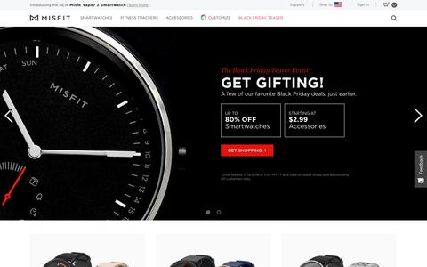 Screenshot of Home Page misfit.com - Smartwatches, Fitness Trackers & Wearable Technology - Misfit - captured Nov. 15, 2018