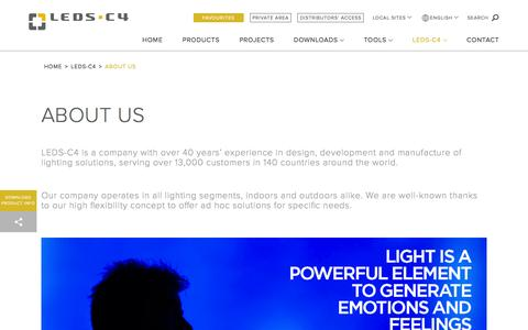 Screenshot of About Page leds-c4.com - Leds-C4 - ABOUT US - captured July 9, 2016