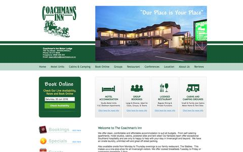 Screenshot of Home Page Terms Page coachmans.co.nz - Motel Accommodation Invercargill NZ - Coachman's Inn - captured June 30, 2018