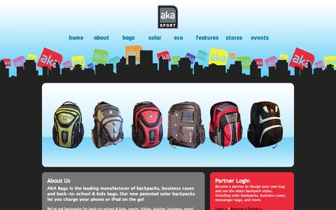 Screenshot of Home Page akabags.com - AKA BAgs – Backpacks & Bags for Everything - captured Oct. 4, 2014