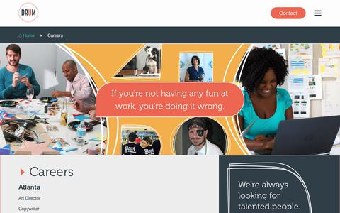 Screenshot of Jobs Page umarketing.com - DRUM Careers | Advertising Agency in Atlanta, Chicago & New York - captured July 26, 2018