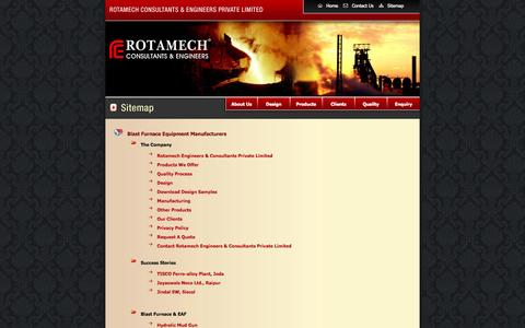 Screenshot of Site Map Page rotamech.com - Rotamech :: Hydraulic Mud Gun, Clay Guns, Tap Hole Drills, - captured Oct. 7, 2014