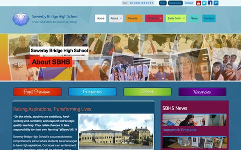 Screenshot of About Page sbhs.co.uk - About - Sowerby Bridge High School - captured Oct. 7, 2014