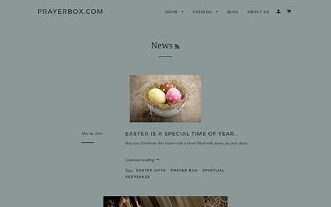 Screenshot of Press Page prayerbox.com - Prayer Box - Spiritual Keepsakes – Prayerbox.com - captured Sept. 20, 2017