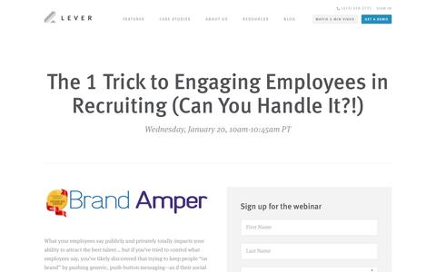 Screenshot of Signup Page lever.co - Webinar - The 1 Trick to Engaging Employees in Recruiting  - Brand Amper & Lever - captured Jan. 13, 2016