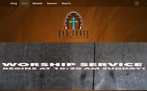 Screenshot of Home Page barcross.org - Bar Cross Cowboy Church | - captured Oct. 5, 2014