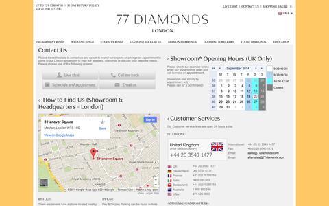 Screenshot of Contact Page 77diamonds.com - Contact Us - 77Diamonds - captured Sept. 22, 2014