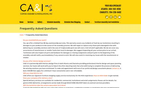 Screenshot of FAQ Page caiatl.com - Frequently Asked Questions « Custom Assembly & Installations Custom Assembly & Installations - captured Oct. 3, 2014
