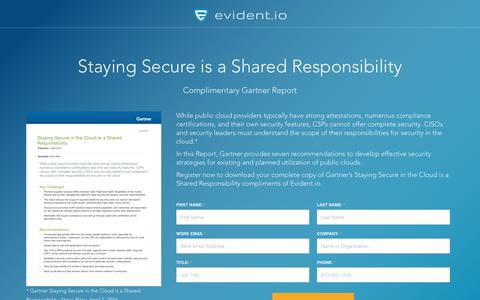 Screenshot of Landing Page evident.io - Shared Responsibility in Public Cloud - Gartner Report - captured March 30, 2017