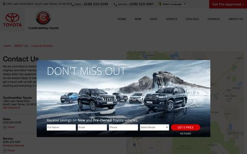 Screenshot of Contact Page Maps & Directions Page cardinalewaytoyota.com - Contact CardinaleWay Toyota in South Lake Tahoe California - captured Jan. 30, 2017