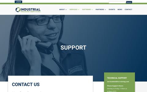 Screenshot of Support Page its-training.com - Customer Support | Industrial Training Services - captured May 12, 2018