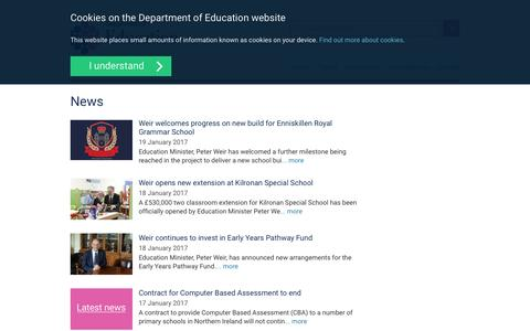 Screenshot of Press Page education-ni.gov.uk - News | Education - captured Jan. 21, 2017