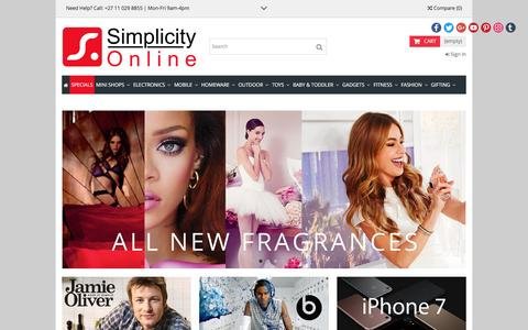 Screenshot of Home Page simplicity.co.za - Simplicity Online Shopping - Simplicity.co.za - captured Nov. 17, 2016