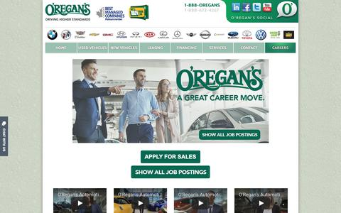 Screenshot of Jobs Page oregans.com - Careers - O'Regan's - captured Oct. 18, 2018