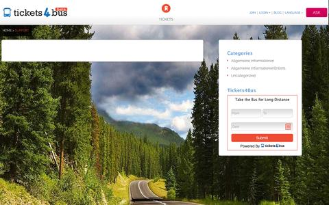 Screenshot of Support Page tickets4bus.com - Support - - captured Nov. 4, 2014