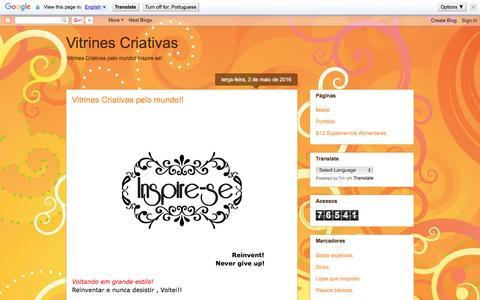 Screenshot of Home Page vitrinescriativas.blogspot.com.br - Vitrines Criativas - captured Aug. 13, 2016