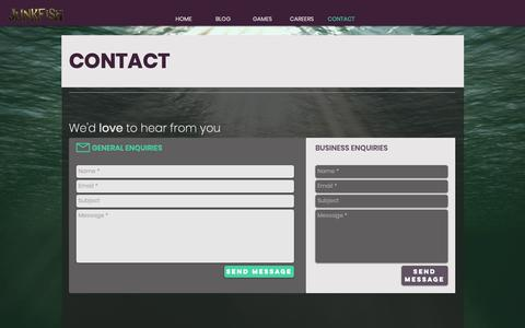 Screenshot of Contact Page teamjunkfish.com - Team Junkfish | CONTACT - captured Oct. 14, 2018