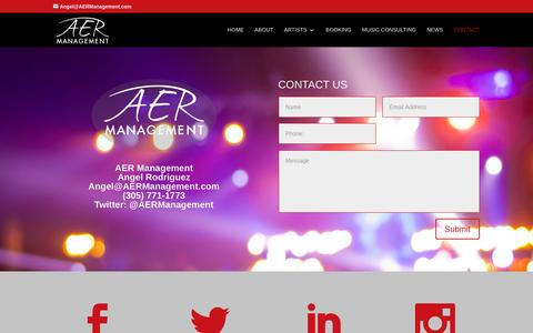 Screenshot of Contact Page aermanagement.com - Contact - AER Management - captured July 23, 2016