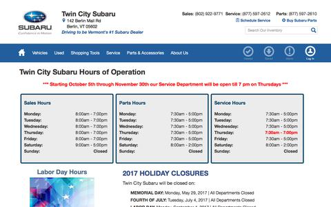 Screenshot of Hours Page twincitysubaru.com - Hours & Holiday Closures | Twin City Subaru in Berlin, VT - captured Oct. 24, 2017