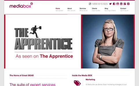 Screenshot of Home Page mediabox.ie - Media Box | PR, Digital, Design, Training - captured Sept. 30, 2014