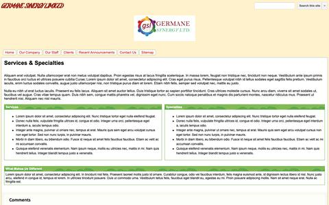 Screenshot of Services Page germanesynergy.com - Services & Specialties - GERMANE SYNERGY LIMITED - captured Dec. 13, 2018