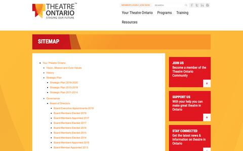 Screenshot of Site Map Page theatreontario.org - Sitemap - captured Oct. 21, 2018