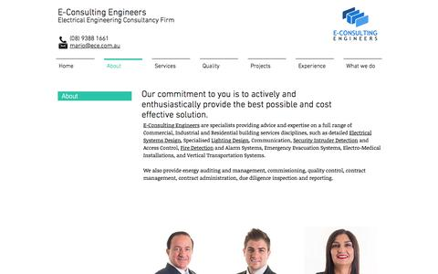 Screenshot of About Page ece.com.au - E Consulting Engineers - About Us - captured Nov. 24, 2016