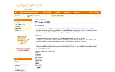 Screenshot of Privacy Page askwear.com - Privacy Notice : Clothing Manufacturer Accept Bulk And Small Order | Askwear - captured Feb. 6, 2016