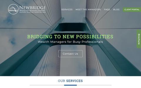 Screenshot of Home Page newbridgewealth.com - New Bridge Wealth Management - captured Oct. 19, 2018