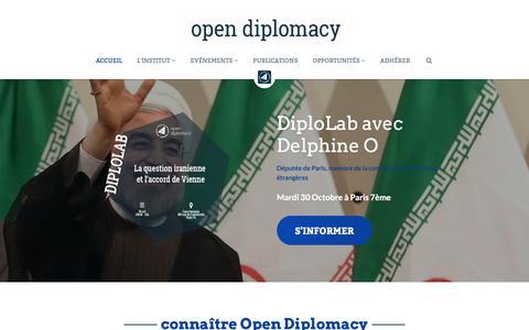 Screenshot of Home Page open-diplomacy.eu - Institut Open Diplomacy - captured Oct. 23, 2018
