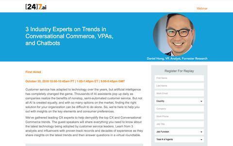 Screenshot of Landing Page 247.ai - Webinar Registration: 3 Industry Experts on Trends in Conversational Commerce, VPAs, and Chatbots - captured Nov. 26, 2018