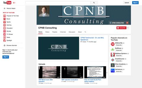 Screenshot of YouTube Page youtube.com - CPNB Consulting  - YouTube - captured Oct. 22, 2014