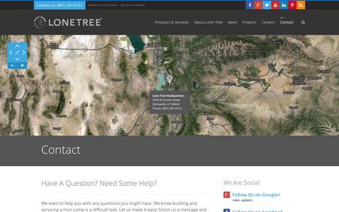 Screenshot of Contact Page lonetreeusa.com - Contact Us | Lone Tree USA - captured Dec. 13, 2015