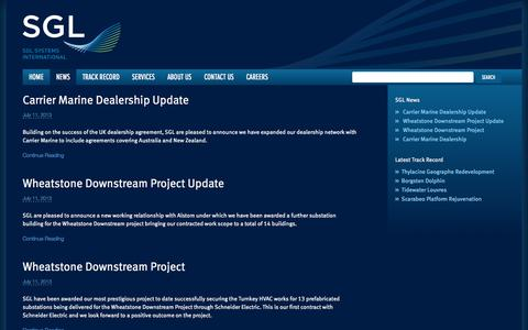Screenshot of Press Page sglsystems.com - News - SGL Systems International - captured Oct. 1, 2014