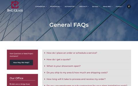 Screenshot of FAQ Page bgglass.com - B&G Glass General FAQs, Reading, PA - captured Dec. 7, 2018