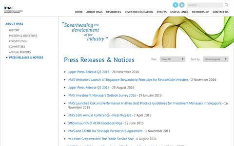 Screenshot of Press Page imas.org.sg - Investment Management Association of Singapore - captured Nov. 26, 2016