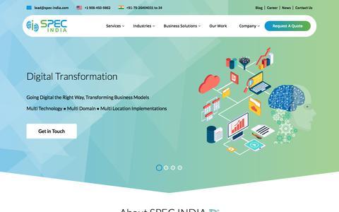 Screenshot of Home Page spec-india.com - SPEC INDIA – IT Services | Enterprise Software Development & Digital Solutions Consulting - captured April 20, 2018