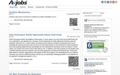 Screenshot of Blog avjobs.com - Avjobs | Aviation Jobs Blog - captured Sept. 24, 2014