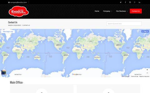 Screenshot of Contact Page exoduz.com - Exoduz Corporation   –  Contact Us - captured Dec. 13, 2015