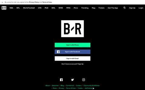 Screenshot of Login Page bleacherreport.com - Bleacher Report | Sports. Highlights. News. Now. - captured Feb. 1, 2018