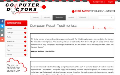 Screenshot of Testimonials Page coloradocomputerdoctors.com - Computer Repair Testimonials - captured July 20, 2018